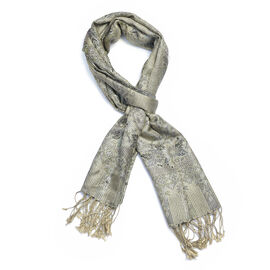 SILK MARK-100% Silk Olive Green and Multi Colour Floral and Paisley Pattern Scarf (Size 180x70 Cm)