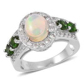 Ethiopian Welo Opal (Ovl 1.25 Ct), Natural White Cambodian Zircon and Russian Diopside Ring in Rhodi