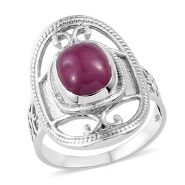 4.73 Ct African Ruby Solitaire Ring in Sterling Silver 5.54 Grams