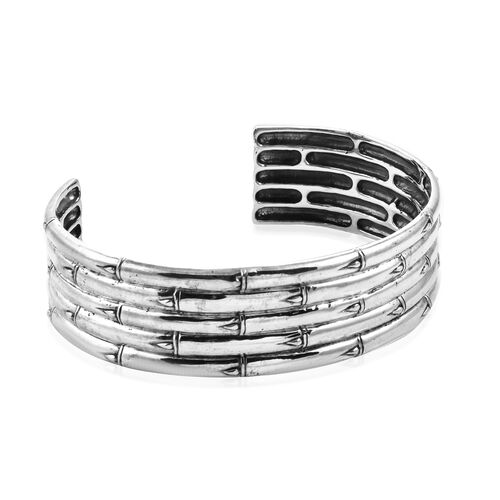 Sterling Silver Bamboo Cuff Bangle (Size 7.25), Silver wt 45.30 Gms