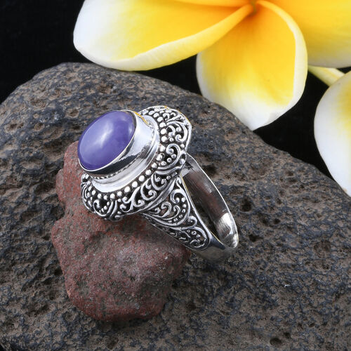 Royal Bali Collection Purple Jade (Ovl) Filigree Ring in Sterling Silver 6.055 Ct. Silver wt 6.80 Gms.