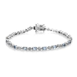 Santa Maria Aquamarine and Natural Cambodian Zircon Bracelet (Size 7.5) in Platinum Overlay Sterling