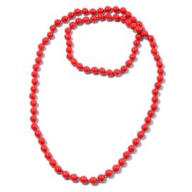 895 Ct Red Howlite Beaded Necklace 46 Inch