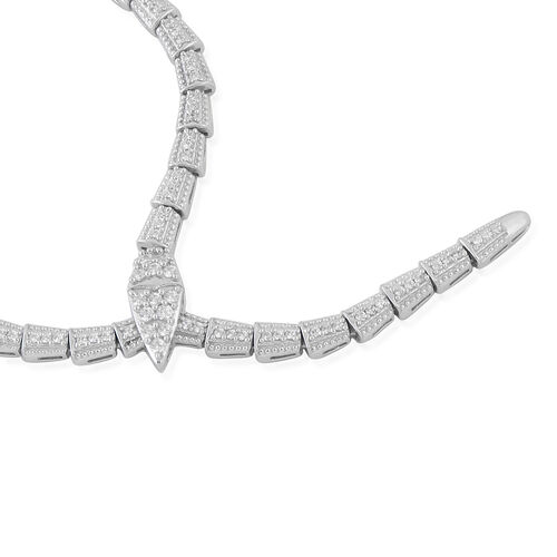 J Francis - Platinum Overlay Sterling Silver (Rnd) SERPENTINE Necklace (Size 20) Made with SWAROVSKI ZIRCONIA, Silver wt 30 Gms,
