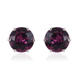 J Francis - Crystal from Swarovski Amethyst Crystal (Rnd) Stud Earrings (with Push Back) in Platinum