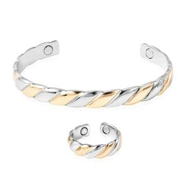 2 Piece Set Stripes Pattern Adjustable Copper Cuff Bangle and Ring with Magnets