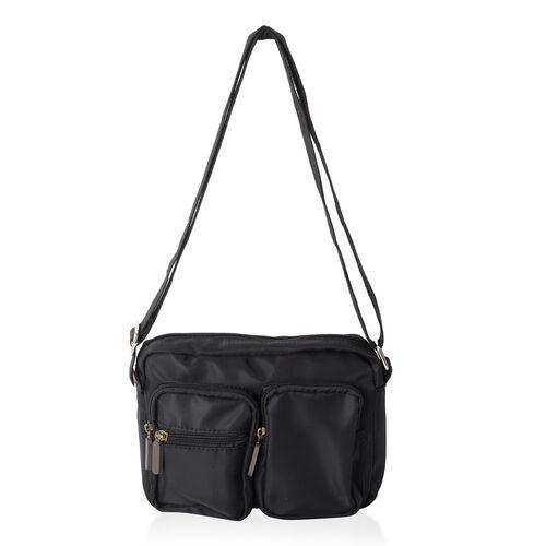 Annabelle Water Resistant  Black Cross Body Bag with External Zipper Pockets (Size 22x17x7 Cm)
