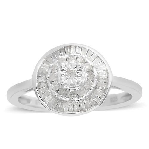 Diamond (Bgt and Rnd) Cluster Ring in Platinum Overlay Sterling Silver 0.328 Ct.