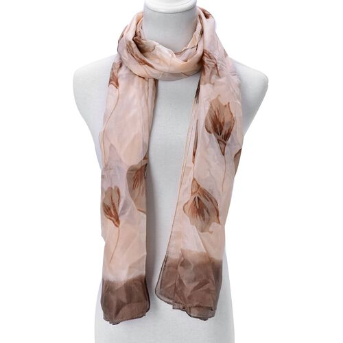 100% Mulberry Silk Chocolate Colour Floral Pattern Brown Colour Scarf (Size 180x110 Cm)