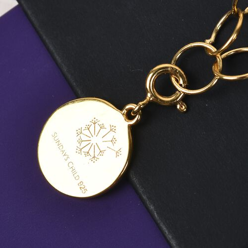 Sundays Child - 14K Gold Overlay Sterling Silver Round Link Necklace (Size 30) with Charm, Silver wt. 13.75 Gms
