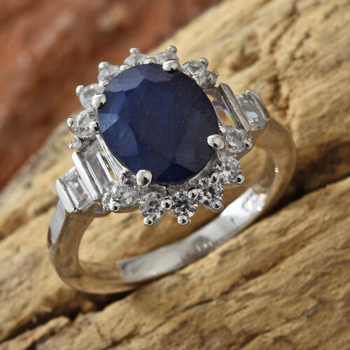 Kanchanaburi Blue Sapphire (Ovl 3.00 Ct), Natural Cambodian Zircon Ring in Platinum Overlay Sterling Silver 4.000 Ct.