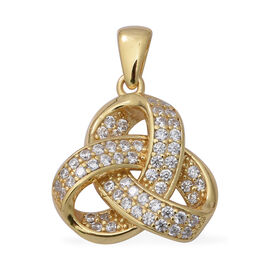 ELANZA Simulated Diamond (Rnd) Triple Knot Pendant in Yellow Gold Overlay Sterling Silver