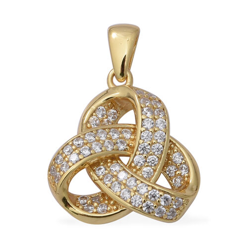 ELANZA Simulated Diamond Triple Knot Pendant in Yellow Gold Plated Sterling Silver