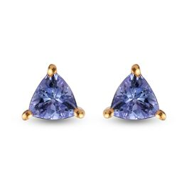 Tanzanite Trillion Solitaire Stud Silver Earrings (with Push Back) in 14K Gold Overlay Sterling Silv