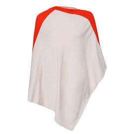 Kris Ana Orange Coloured Shoulder Beige Poncho One Size (8-18)