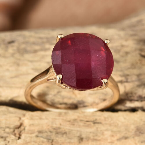 9K Yellow Gold Checkerboard Faceted AAA African Ruby (Rnd) Ring 10.000 Ct.