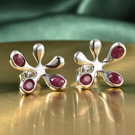 LucyQ Splash Collection - African Ruby (FF) Earrings (with Push Back) in Rhodium Overlay Sterling Silver 1.51 Ct.