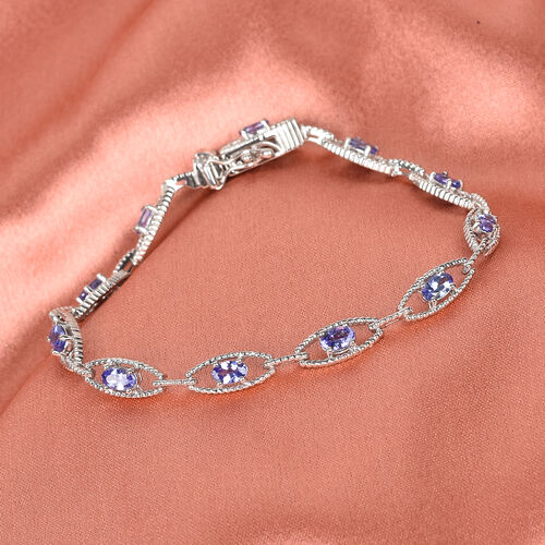 Tanzanite Bracelet (Size 8) in Platinum Overlay Sterling Silver 2.47 Ct, Silver wt. 9.80 Gms