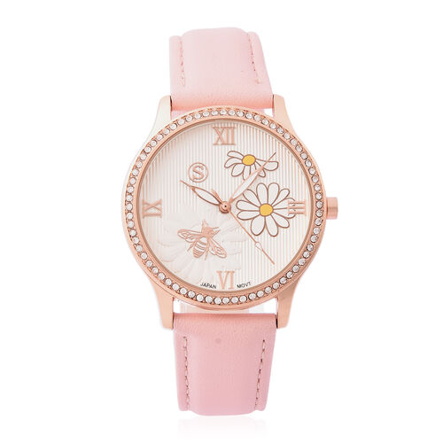 STRADA Japanese Movement White Austrian Crystal Studded Flower Bee Dial Water Resistant Watch with P