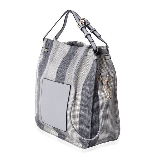 Scarlett Water Resistant Autumn Black and Grey Stripe Tote Bag with Removable Shoulder Strap (Size 34.5x34x12 Cm)