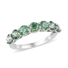 J Francis - Platinum Overlay Sterling Silver Half Eternity Ring Made with Green Swarovski Zirconia 3