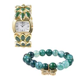 2 Piece Set - STRADA Japanese Movement Water Resistant Bracelet Watch and Green Agate Bracelet (Size