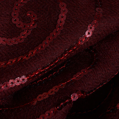 Limited Edition 100% Spanish Merino Wool Burgundy Colour Scarf with Sequin (Size 180x70 Cm)