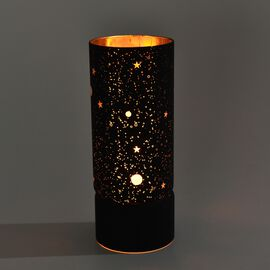 Star Pattern  Decorative Lamp in Yellow Light (Size 8x8x20 Cm) - Black (3xAAA Battery not Included)