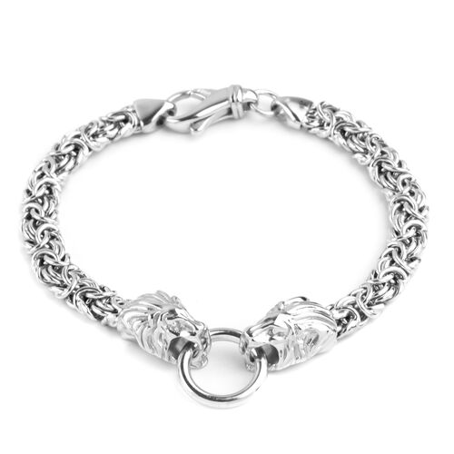 Vicenza Collection Rhodium Plated Sterling Silver Byzantine Bracelet (Size 7.5), Silver wt 16.55 Gms.