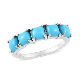 Arizona Sleeping Beauty Turquoise (Sqr) Five Stone Ring in Platinum Overlay Sterling Silver 2.00 Ct.