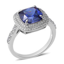 Elanza Tanzanite Cubic Zirconia and Ring in Rhodium Plated Sterling Silver