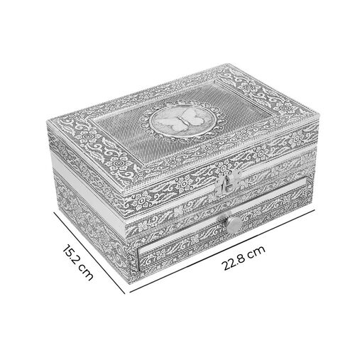 3D Embossed Collection Handcrafted Butterfly Design Oxidised Jewellery Box with Drawer Chest (Size 22.8x15.2cm)