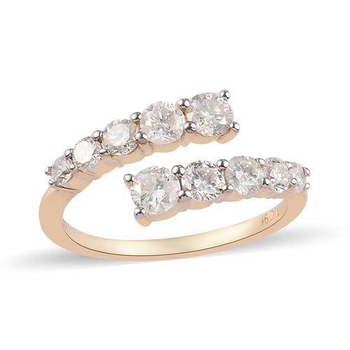 GP - 9K Yellow Gold SGL Certified Natural Diamond (G-H/I3) and Blue Sapphire Bypass Ring 1.02 Ct.