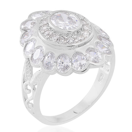 ELANZA Simulated White Diamond (Ovl) Ring in Rhodium Plated Sterling Silver, Silver wt 5.42 Gms.