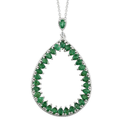 4.50 Ct AA Kagem Zambian Emerald and Cambodian Zircon Drop Pendant with Chain in Silver 7.69 grams