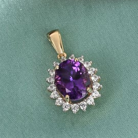 9K Yellow Gold Moroccan Amethyst and Natural Cambodian Zircon Halo Pendant 3.25 Ct.