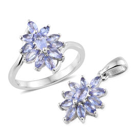 2 Piece Set - Tanzanite (Mrq) Cluster Ring and Pendant in Platinum Overlay Sterling Silver  2.000 Ct