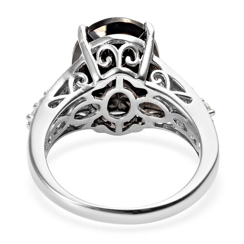 Elite Shungite (Ovl 14x10 mm), Natural Cambodian Zircon Ring in Platinum Overlay Sterling Silver 4.00 Ct.