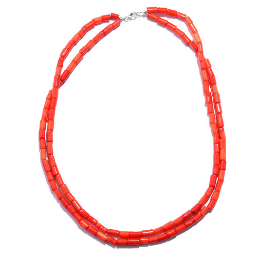 One Time Deal - Extremely Rare  Coral Pipe Shape Necklace (Size 20) in Rhodium Plated Sterling Silver 200.000 Ct.