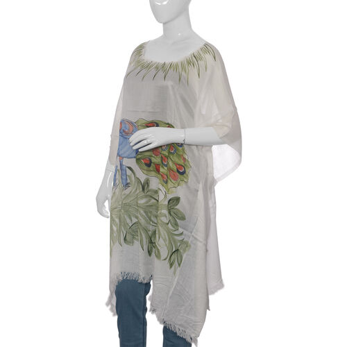 Designer Inspired Hand Painted Green and White Colour Beach Tree Pattern Kaftan (Free Size)