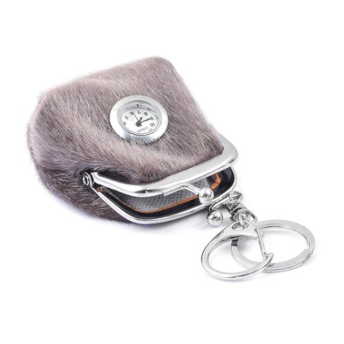 Set of 2 - STRADA Japanese Movement White Dial Grey Colour Coin Purse Design Water Resistant Key Chain Watch in Silver Tone