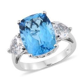 15.50 Ct Marambaia Topaz and White Topaz Trilogy Design Ring in Platinum Plated Silver
