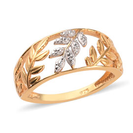 Diamond Leaf Vine Ring in 14K Gold Overlay Sterling Silver