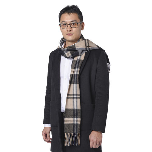 Super Soft Plaid Pattern Wool Scarf (Size 30x167+8cm) - Brown