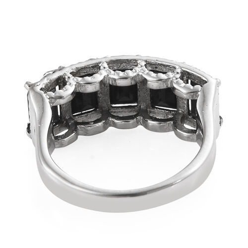 Boi Ploi Black Spinel (Oct) Five Stone Ring in Stainless Steel