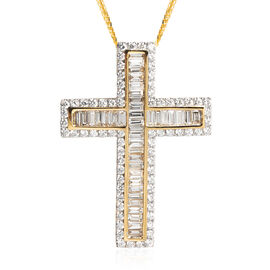 ILIANA 2.05 Ct Diamond Cross Pendant With Chain in 18K Gold 5.9 Grams IGI Certified SI GH