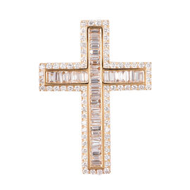 ILIANA 2.02 Ct Diamond Cross Pendant With Chain in 18K Gold 6.3 Grams IGI Certified SI GH