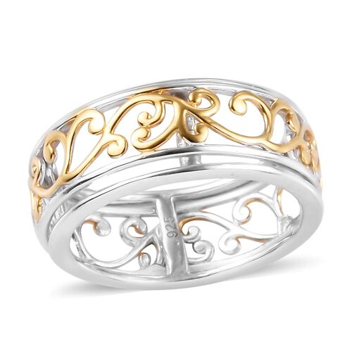 Floral Band Ring in Platinum and Yellow Gold Plated Sterling Silver