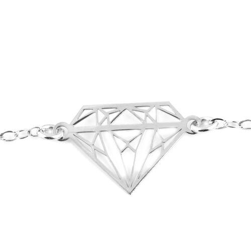 Italian Mega Deal- Sterling Silver Diamond Shape Bracelet (Size 7 with 1 Inch Extender)