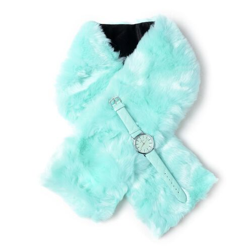 2 Piece Set - STRADA Japanese Movement Watch with Blue Green Colour Strap and  Blue Green Colour Faux Fur Scarf (Size 100x15 Cm)